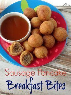Sausage Pancake Breakfast Bites. Easy kid friendly breakfast idea for busy mornings!
