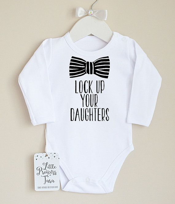 Lock Up Your Daughters Baby Boy Clothes. Baby Boy's Bodysuit with Bow Graphic. Infant Boy Clothing #ad