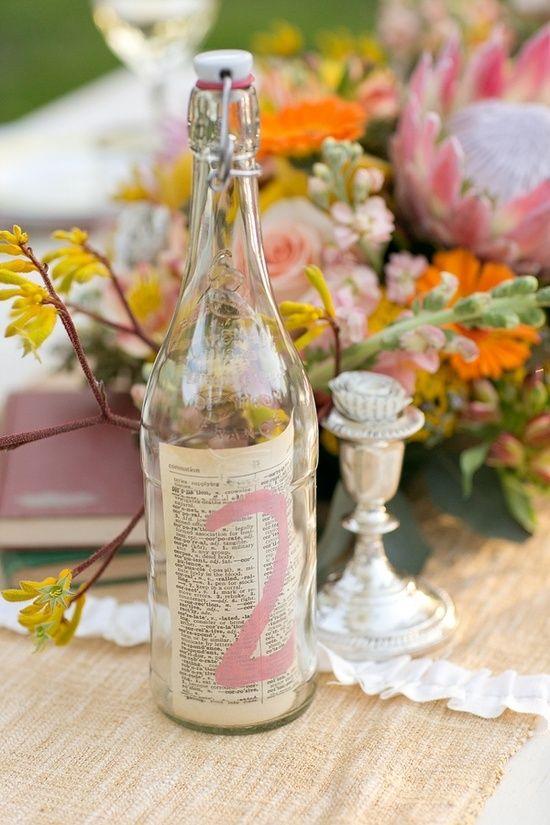 indica las mesas usando números, botellas de agua y un trozo de periódico