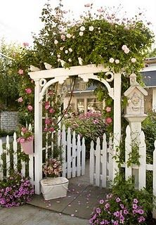 : Cottages Gardens, Frontyard, Climbing Rose, Arbors, Front Yard, Gardens Gates, House, Front Walkways, White Picket Fence