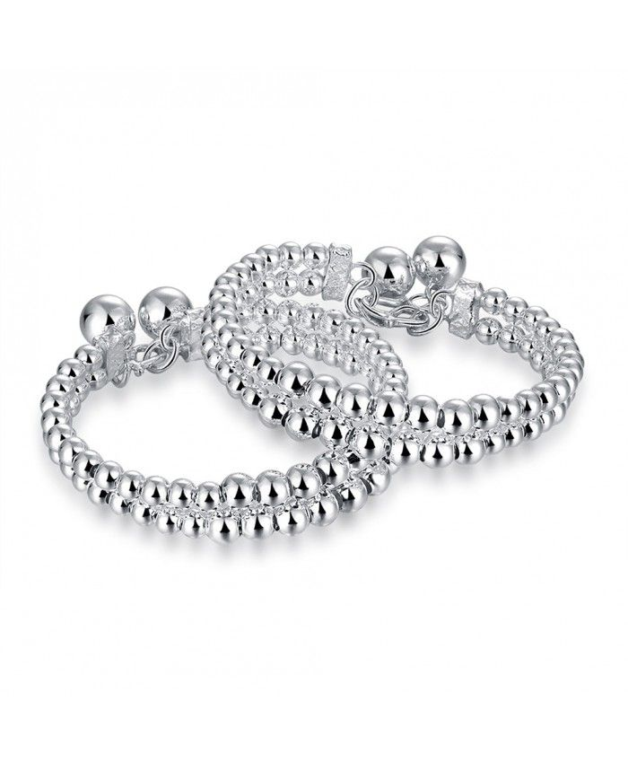 New Fashion 925 Silver Double Light Beads Ball Bracelet High Polished