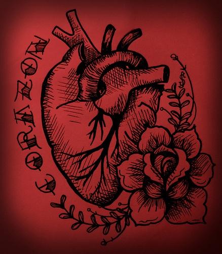 my corazon, heart, rose tattoo style illustration