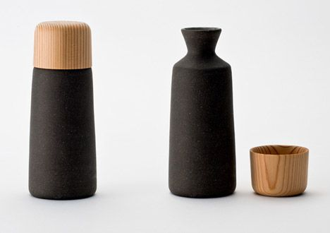 Perfectly matched by contrasted by surface quality/color  Sake cup by Kazuya Koike