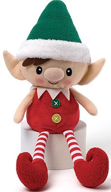 cute christmas elves dolls | Christmas teddy bears - Red Peppermint Santa's Elf Doll - Gund