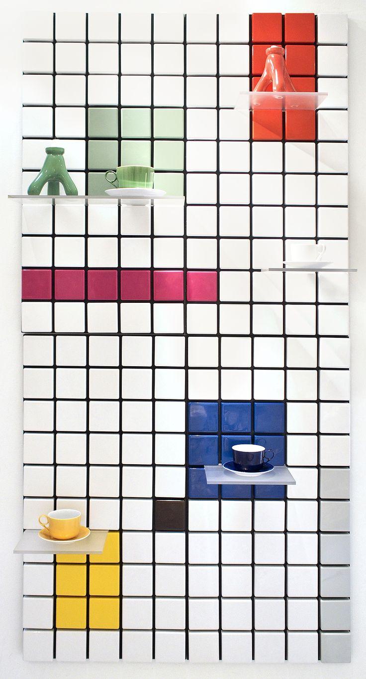 Confetti shelf system customized: 4 modules, mixed colors. #tentlondon15 #nordicdesign #shelfsystem #scandinaviandesign #interiordesign #flexibleshelfsystem