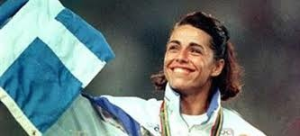 Voula Patoulidou, 1965-, is a prolific athlete.  Patoulidou throughout her athletics career competed in the 100 metres, 100 metres hurdles and in the long jump events. Patoulidou became a #Greek sporting legend in 1992, when she was the surprise winner of the Women's 100 m hurdles race at the #Olympic Games in Barcelona.