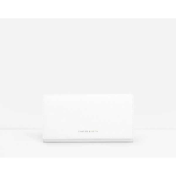 CHARLES & KEITH Classic Long Wallet (55 AUD) ❤ liked on Polyvore featuring bags, wallets, white, coin bag, charles & keith, white wallet, coin wallet and long wallet