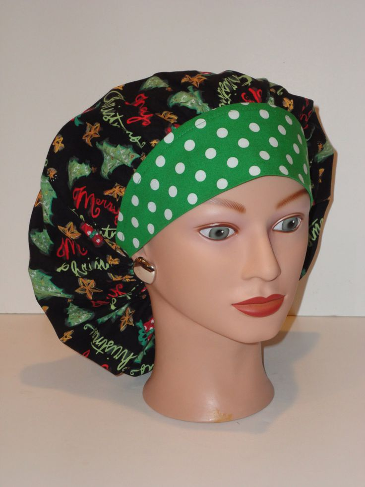 Perfect Sized Bouffant Scrub Cap...Merry Christmas Trees w/Green Polka Dot Band...Surgical Scrub Cap/OR Scrub Cap by TwoSew on Etsy