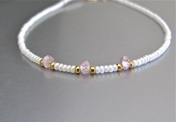 Pink Cubic Zirconia Bracelet White Beads 24K Gold Glass Bead Bracelet Minimal Modern 14K Gold Fill Tropical Bridal June Birthstone