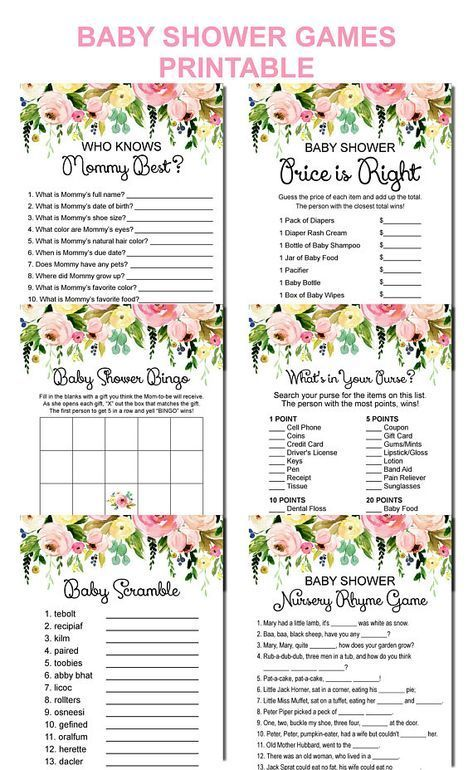 Floral Baby Shower Games Bundle Printable, Garden Baby Shower Games Package, 6 Games Printable, Instant Download C37