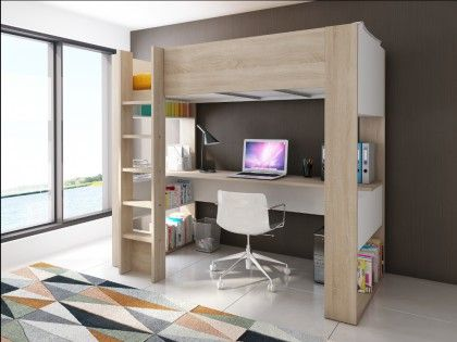 ¡Opta por el práctico diseño de la cama alta NOAH que viene con un escritorio y estantes para guardar integrados!