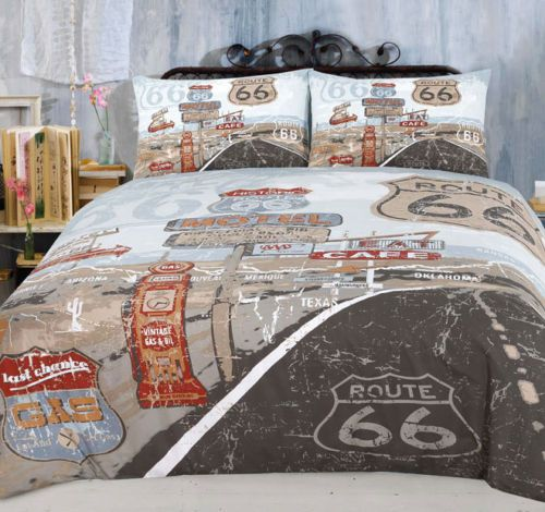 Details About Retro Route 66 Us Highway Quilt Doona Cover