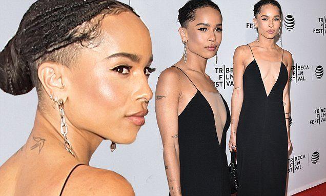 Zoë Kravitz reveals half-shaved head at the Vincent N Roxxy premiere