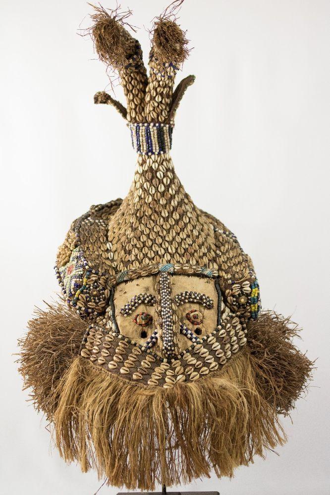 Antique Kuba Mukenga (Moshambwooy) African Helmet - Congo DRC - Tribal used