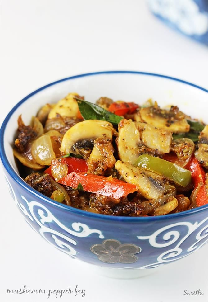 Mushroom pepper fry is one of the easiest recipes made with an aromatic spice blend. It goes very well with rice, roti, wraps or sandwiches