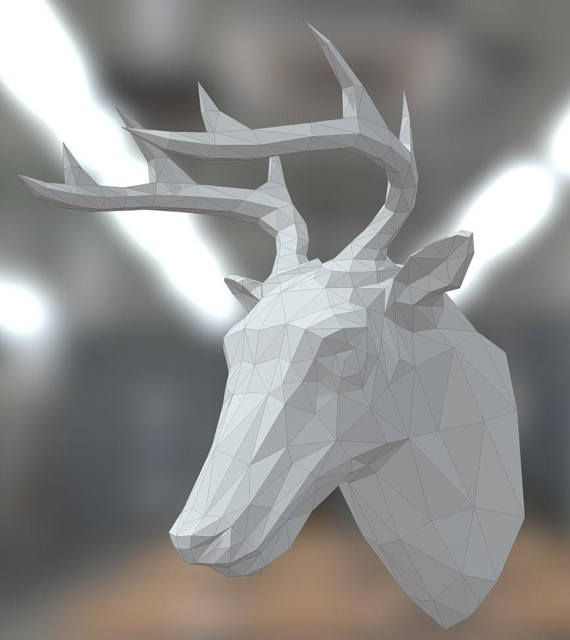 Printable DIY template (PDF). Low poly paper Deer head.  You are purchasing template pattern for Deer head paper model.  Consider the model in 3D is possible by reference https://skfb.ly/698rI  What you will receive: printable DIY template PDF and detailed instructions with pictures.#origami#ad