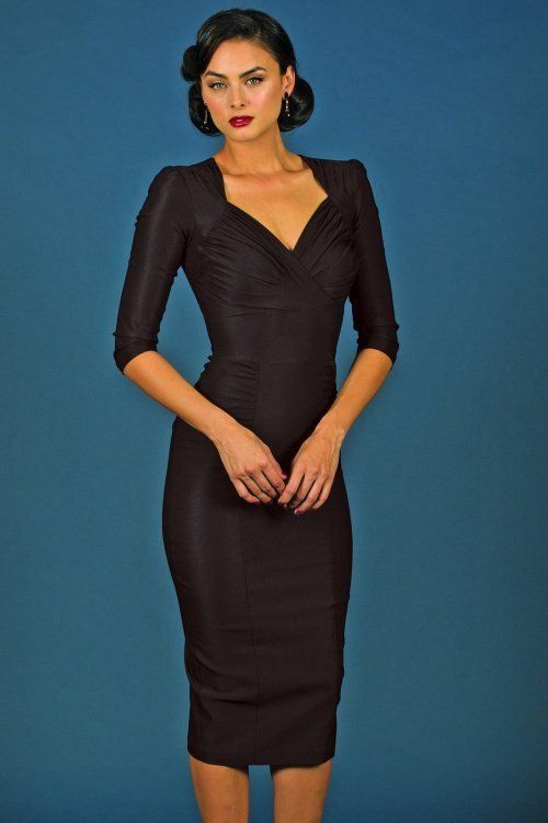 Stop Staring! - 50s Loma Pencil Dress in Black