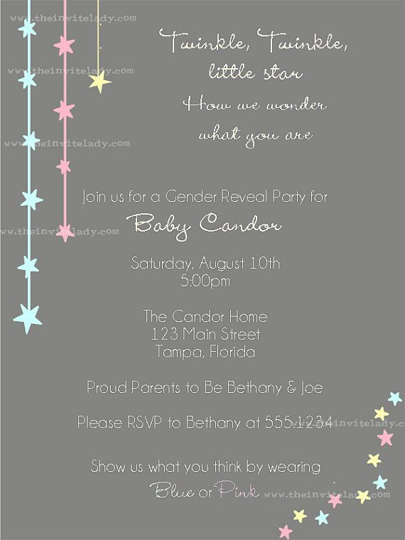 105 best images about gender reveal party on pinterest | twinkle, Baby shower invitations