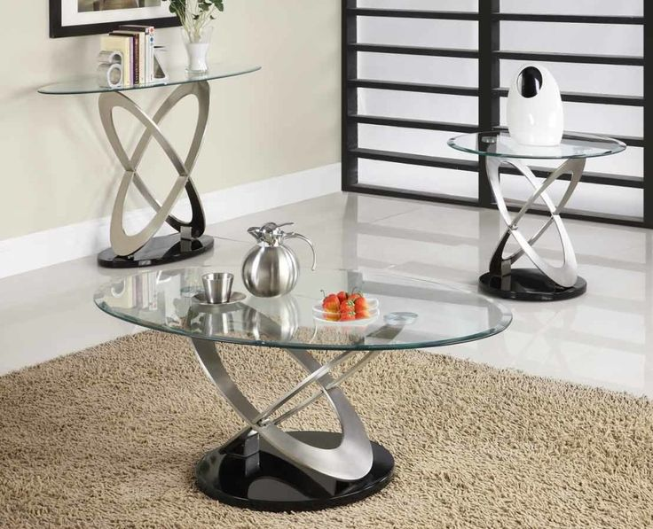 awesome interior coffee table design come with freestading nickel black silver round base oval clear glass top furniture coffee table sets and burly wood