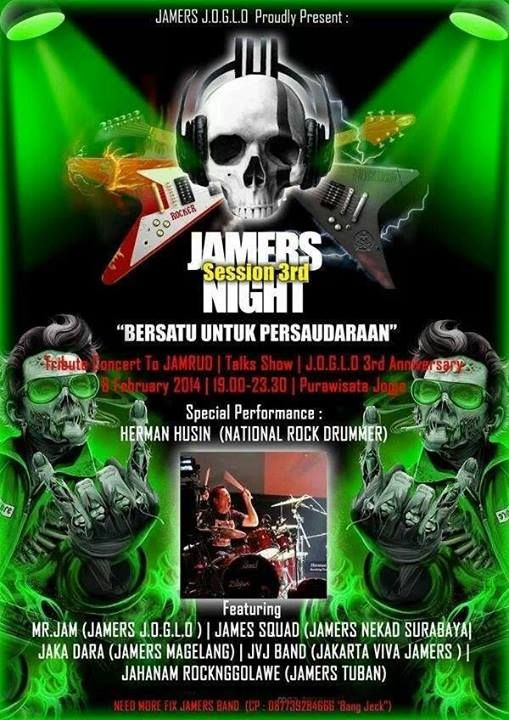 "JANGAN LEWATKAN ! ""Jamers Session 3rd Night""@JamrudBand with special performance Herman Husin (National Rock Drummer)"