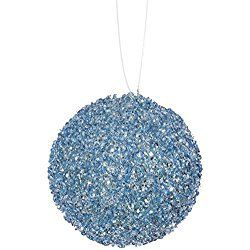 "6ct Baby Blue Sequin and Glitter Drenched Christmas Ball Ornaments 3"" (80mm)"