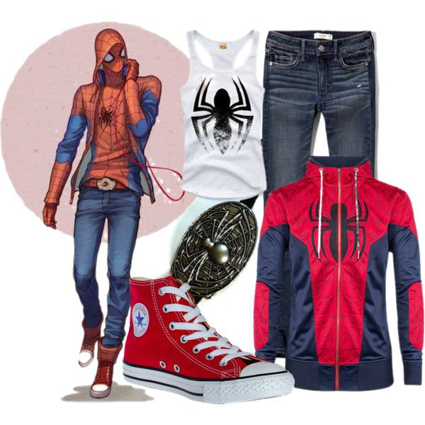 Casual Spiderman, Spider Teen by gansita on Polyvore featuring Abercrombie & Fitch and Converse