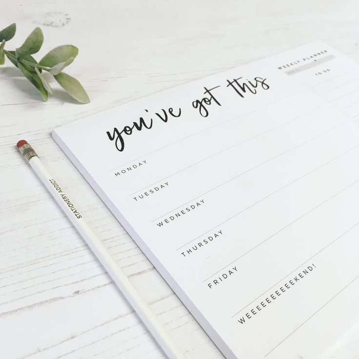 'You've Got This' Weekly Desk Planner Pad
