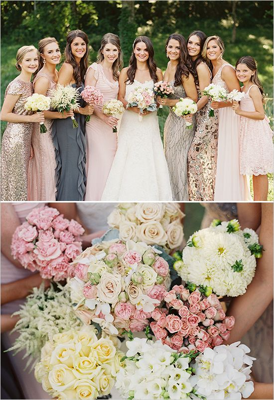 different flower bridesmaid bouquets @weddingchicks