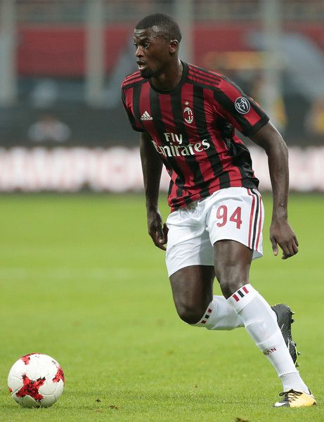 M Baye Niang of AC Milan in action during the UEFA Europa League Third Qualifying Round Second Leg match between AC Milan and CSU Craiova at Stadio Giuseppe Meazza on August 3, 2017 in Milan, Italy.