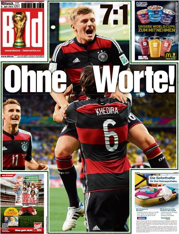 Humiliation Brazil S Loss To Germany Lands On Front Pages