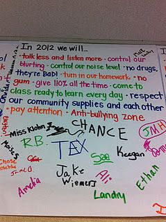 New Years Resolutions for the whole class! Love it! A good way to relaunch your learning community after break.