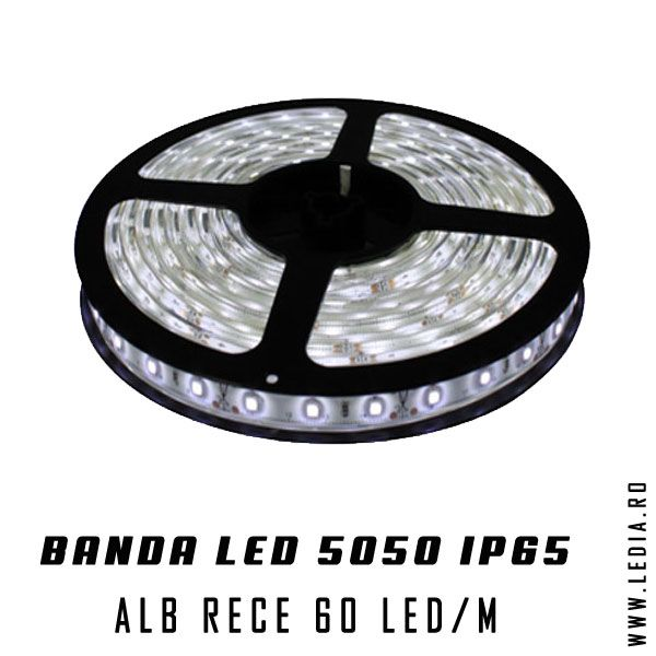 Banda LED  5050 ALB RECE IP65 cu chip 5050 smd marca epistar este de cea mia buna calitate si poti gasii doar la ledia.ro o banda cu leduri perfecta pentru iluminat si decor interior
