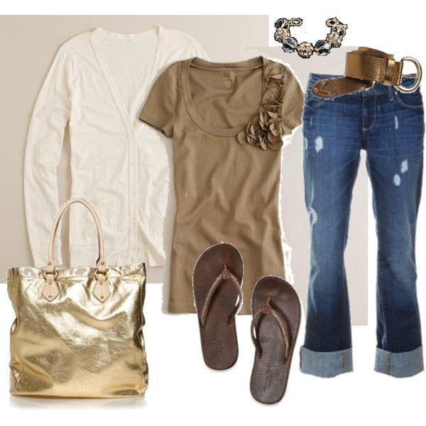 Casual FridayFlipflops, Fashion, Casual Outfit, Casual Friday, Clothing, Gold Bags, Flip Flops, Spring Outfit, My Style