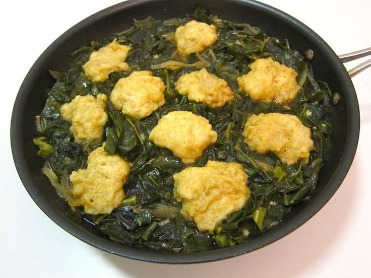 Lightened Up Southern Inspired Collards With Cornmeal Dumplings - but putting dumplings in with collards right away to not have horrifyingly overcooked veg...