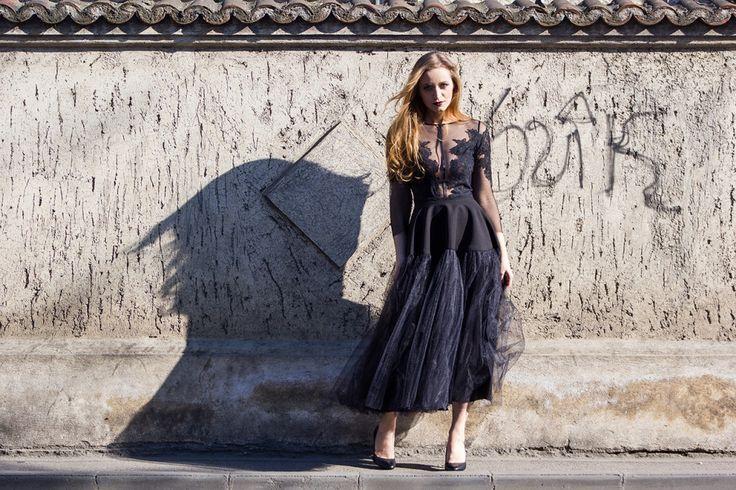 The little black dress - tulle black dress street style