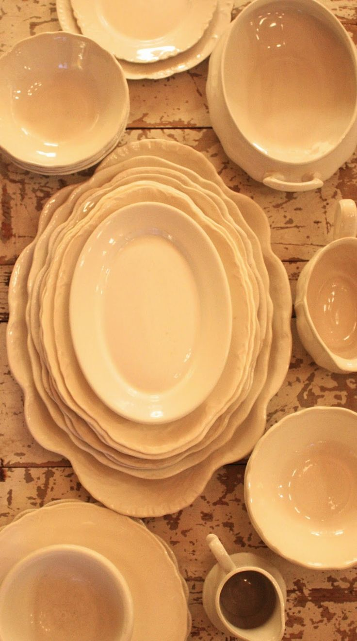 Antique Ironstone Collection, Ironstone's creamy color helps you focus on the shape of the piece.  ~Mary Wald's Place ~  My Sweet Savannah: ~ironstone~