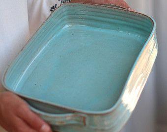 grande piatto piatto di cottura in ceramica blu di FreshPottery