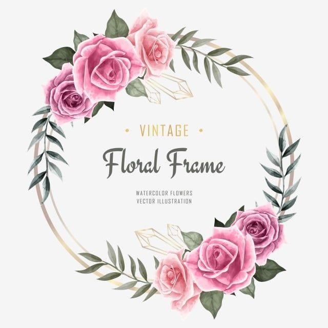 gambar jemputan perkahwinan mewah dengan hiasan bingkai bunga bunga cat air latar belakang corak bunga png dan psd untuk muat turun percuma 2020 nisan tasarim pinterest