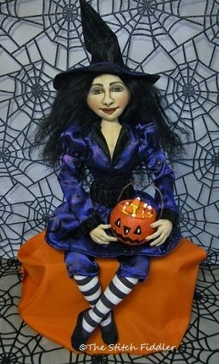 ~The Stitch Fiddler~ Witch Art Doll by Bethann Scott.