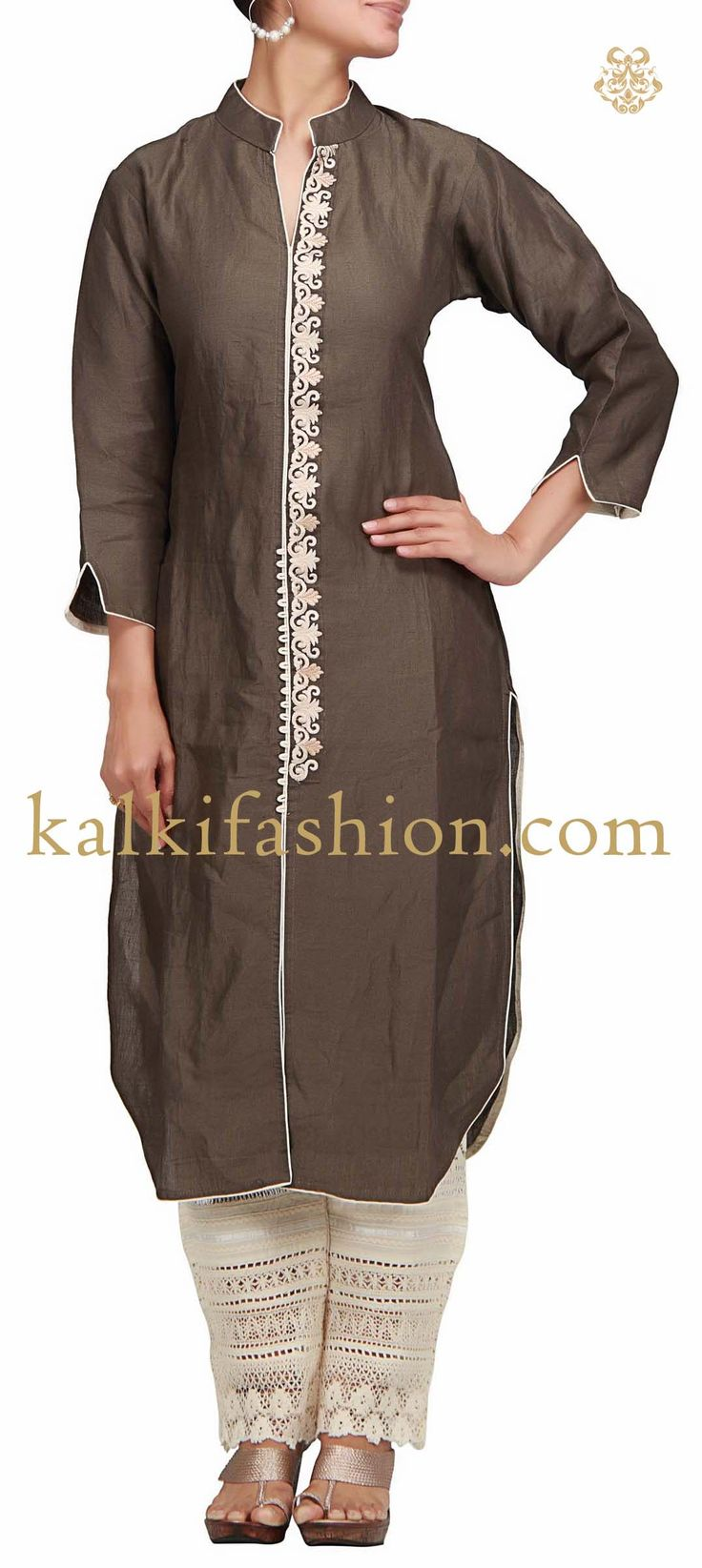 Buy it now http://www.kalkifashion.com/grey-suit-with-resham-embroidery.html Grey suit with resham embroidery