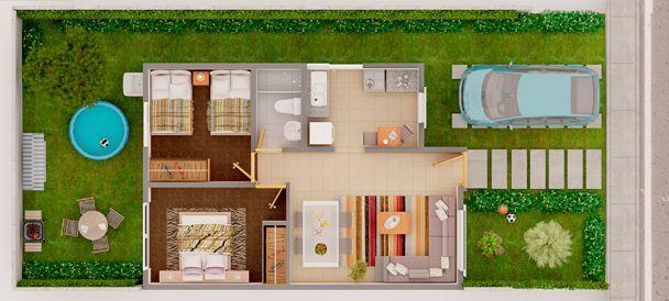 Galilea Constructora - Casa Garza Base de un piso - Plano