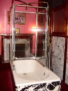 Ladies room, shower stall, Haunted Lemp Mansion, St. Louis (Missouri, USA). Life Magazine deemed the mansion one of the nine most haunted places in America.