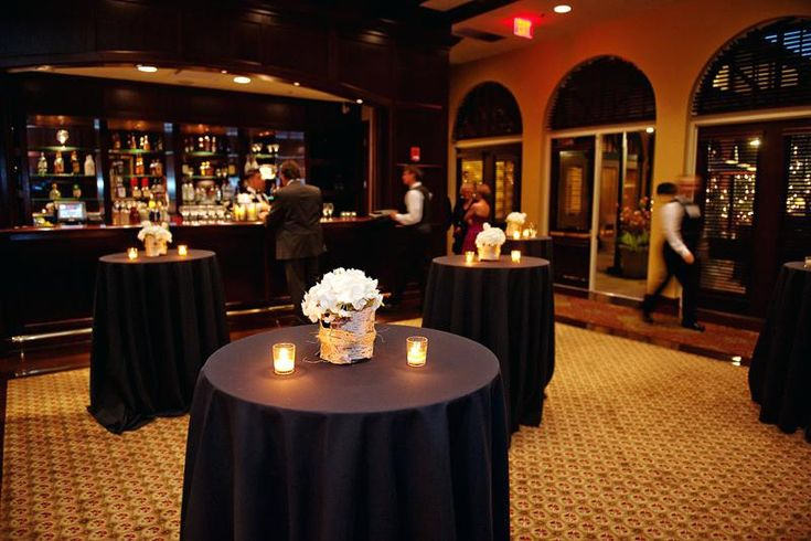 Black Linens Wedding Reception Black Damask Tablecloth Wedding Black Wedding Linens Black Tablecloths On The High Top Tables In The Cocktail Area
