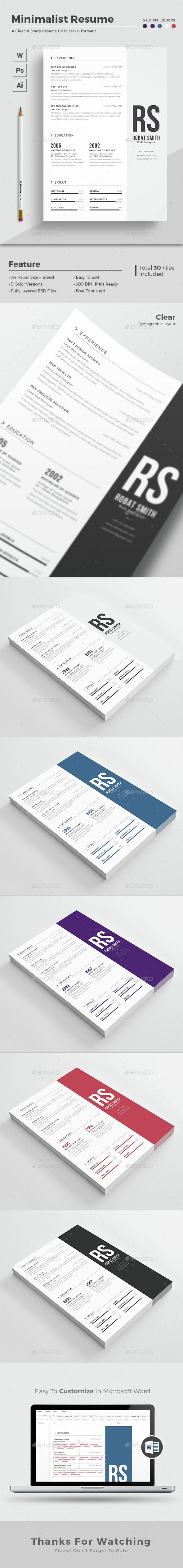 letter format for application%0A Minimalist Resume Template PSD  Vector EPS  AI  Download here  http