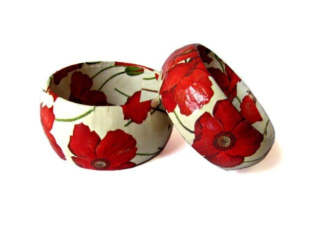 Kukula Designs. Papier Mache Bangle - Poppy Floral Print. The bangle is finished with 2 coats: a sealer and a lacquer to protect it from everyday wear and tear.