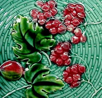 Antique Majolica Plate with Cherries and Berries.