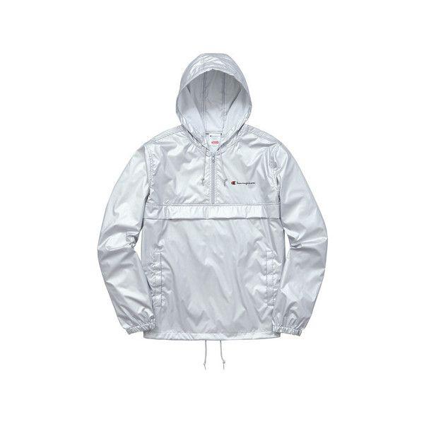 Supreme Supreme /Champion Half Zip Windbreaker ($158) ❤ liked on Polyvore featuring activewear, activewear jackets, champion activewear and champion sportswear