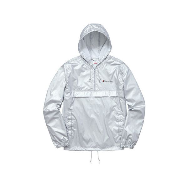 Supreme Supreme /Champion Half Zip Windbreaker ($158) ❤ liked on Polyvore featuring activewear, activewear jackets, champion activewear and champion sportswear