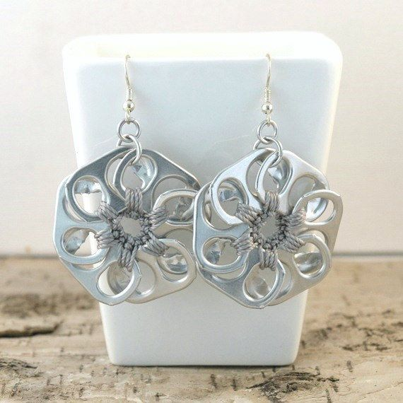 soda tab flower earrings  pair  crochet grey by tabsolute on Etsy, $10.00