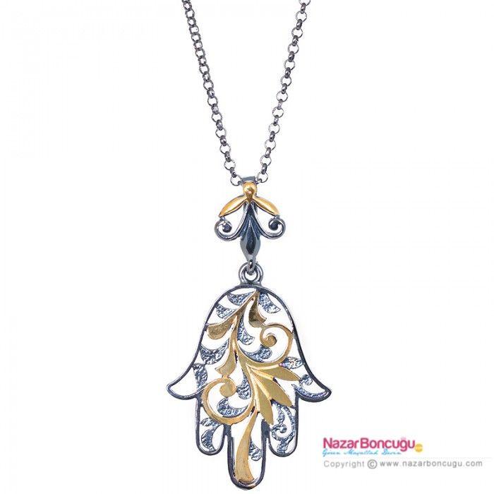 """Özel Tasarım Fatma'nın Eli Gümüş Kolye - Nazar Boncuğu mağazasının """"Fatma Ana Eli"""" koleksiyonundan çok özel bir kolye. 925 ayar gümüş üzerine siyah rodyum ve 18k altın kaplama bu kolye ile şıklığı yakalayacaksınız. Nazar Boncuğu Resimleri"""